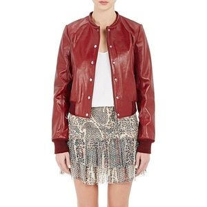 Isabel Marant Kary red leather bomber jacket